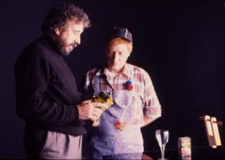 En el rodaje de un spot de zumos Don Simón, dando explicaciones al actor.