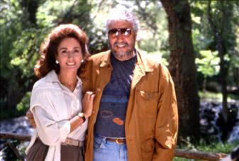 Con Nati Abascal en un rodaje de Wizard.